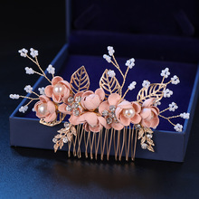 Rhinestone Hair Combs Hair-Accessories Pearls Blue-Flower Wedding Pink Bridal Leaves