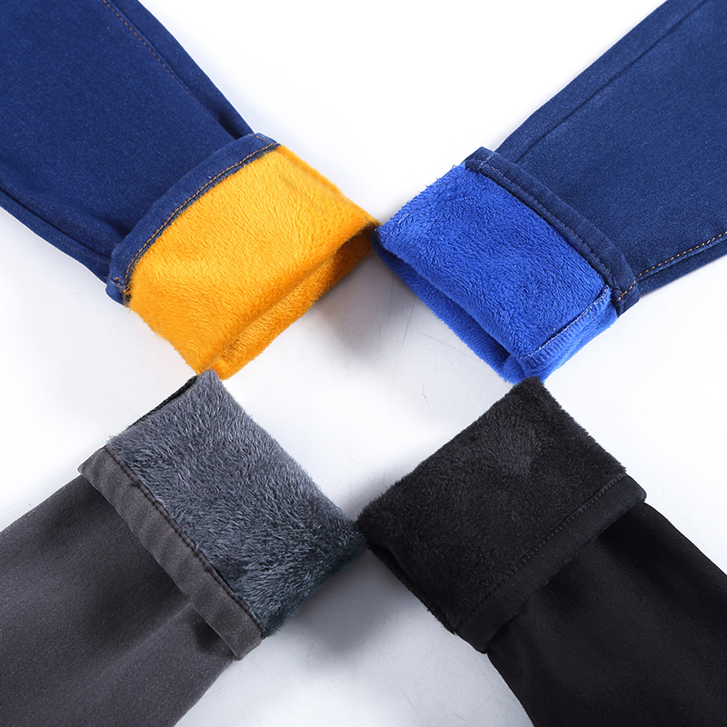 WKOUD Korean Skinny   Jeans   Pants Women Winter Warm   Jeans   Solid Slim Mid Waist Denim Trousers Black Fleeces Pencil Pants P8619