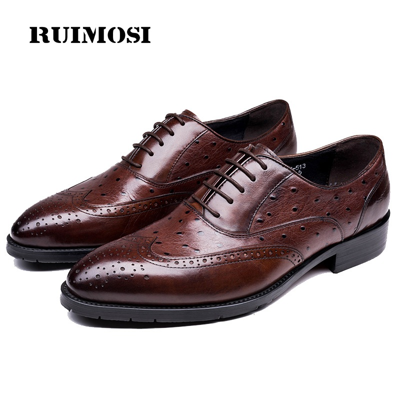 RUIMOSI Top Quality Ostrich Grain Man Wing Tip Brogue Shoes Genuine Leather Oxfords Round Toe Men's Handmade Footwear Flats EI51
