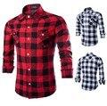 A cuadros rojo y negro camisas de hombre 2016 nueva primavera verano moda Chemise Homme para hombre camisas de vestir Loog manga hombres Camisa