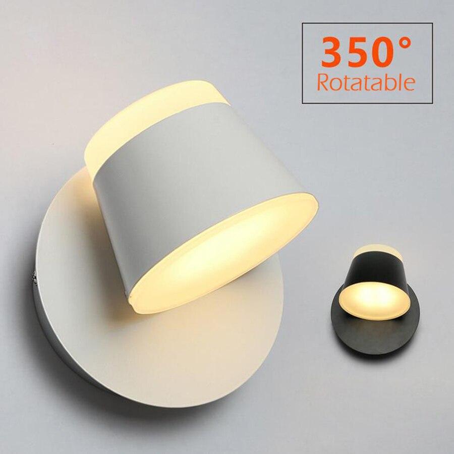 360 graus-Ajustável CONDUZIU a Lâmpada de Parede Para O Quarto de Cabeceira Sconce Parede Do Banheiro Parede Branca Montada Luminária Moderna Iluminação Do Hotel