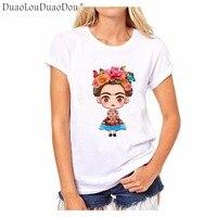 Hot Sale Cartoon Mexican Frida Kahlo T Shirt Short Sleeve Women T Shirt Novelty Tee Frida