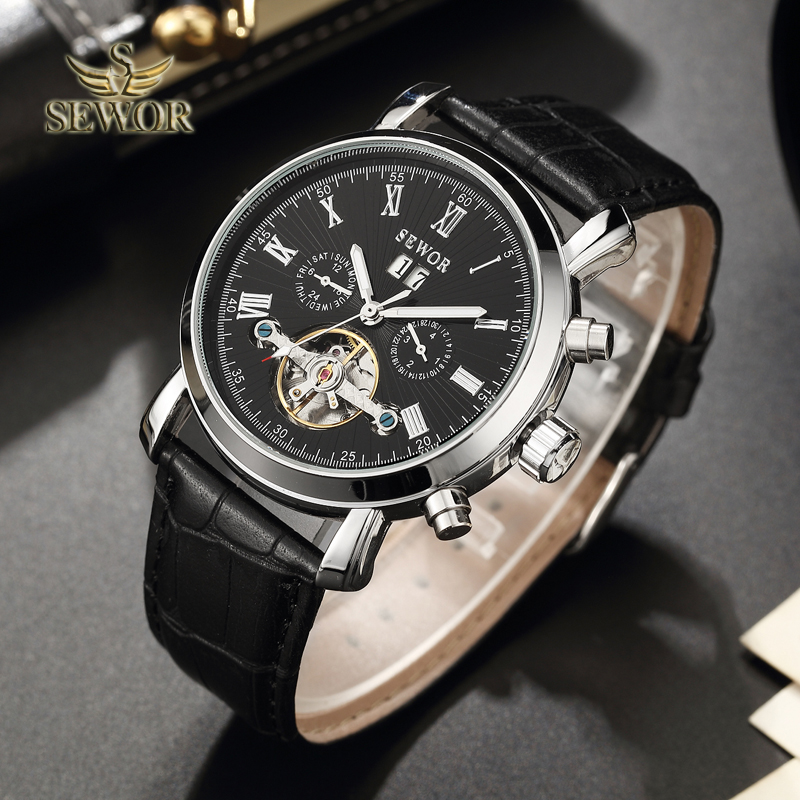 SEWOR Luxury Brand 2018 New Fashion Tourbillon Automatic Mechanical Men Sport Wrist Watch BLACK SILVER C396 цена и фото
