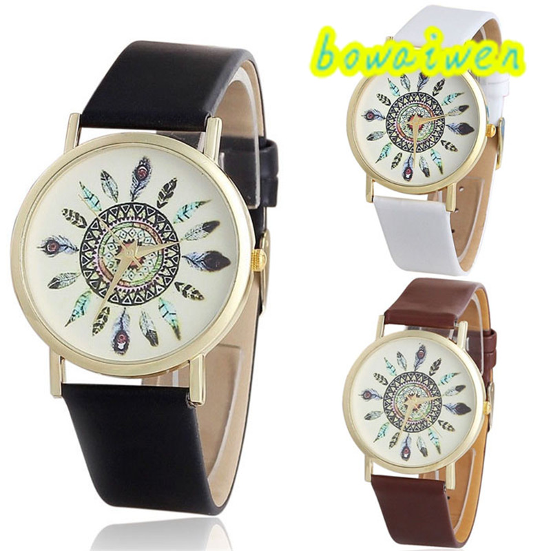 bowaiwen #8040 Woman watch  Women Vintage Feather Dial Leather Band Quartz Analog Unique Wrist Watches new fashion women retro digital dial leather band quartz analog wrist watch watches wholesale 7055