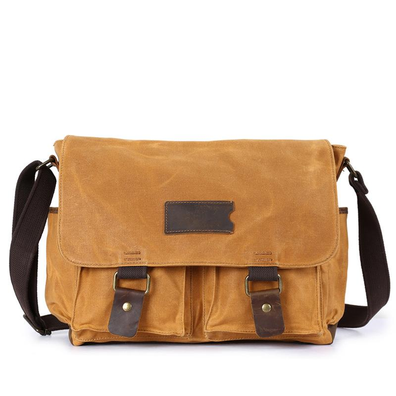Men Vintage Large Capacity Travel Crossbody Bags Retro Waterrpoof Wax Canvas Solid Shoulder Bags with Crazy Horse Leather Belt in Crossbody Bags from Luggage Bags