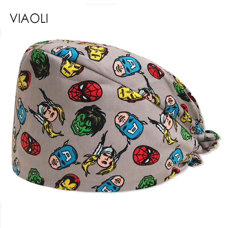 New Cartoon Hero Printing Caps  Unisex Surgical Cap Medical Scrub Hats Digital Desert Camo 100% Cotton Medical Cap Scrub Hats
