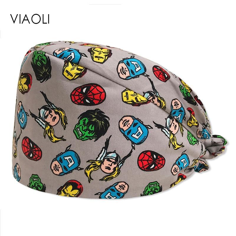 New Cartoon Hero Printing Caps  Unisex Surgical Cap Medical Scrub Hats Digital Desert Camo 100% Cotton Medical Cap Scrub Hats
