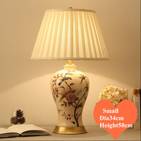 Chinese Ruual Flower Bird Ceramic Table Lamps Modern Plaited Linen Shade Copper Base E27 LED Lamp