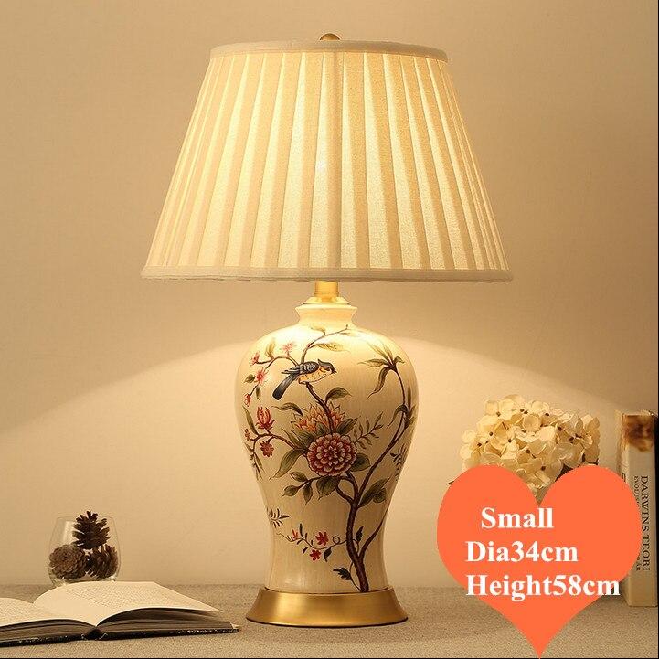 Chinese rural flower bird ceramic small Table Lamps modern plaited linen shade copper base E27 LED lamp for bedside&foyer MF031