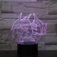 Pokemon Go Charizard Figure LED Night Lamp for Children Home Decorative Lamp Colorful Nightlight Table Lamp LED Charizard lno 217pcs charizard pokemon building block