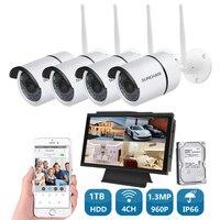 SUNCHAN 4CH 960P Wireless NVR Kit Waterproof Surveillance System Outdoor WIFI Cameras Video IP Camera WIFI