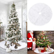 Christmas Tree Skirt Plush Faux Fur Carpet White Large 78 cm 90 122 152 Snow XMAS Base Decor