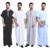 Thobe LURRSN Jubba Árabe Muçulmano Do Oriente Médio 2017 Primavera Verão homens Robes de Corpo Inteiro de Ultra Longo Natureza Linho Algodão Salão vestida