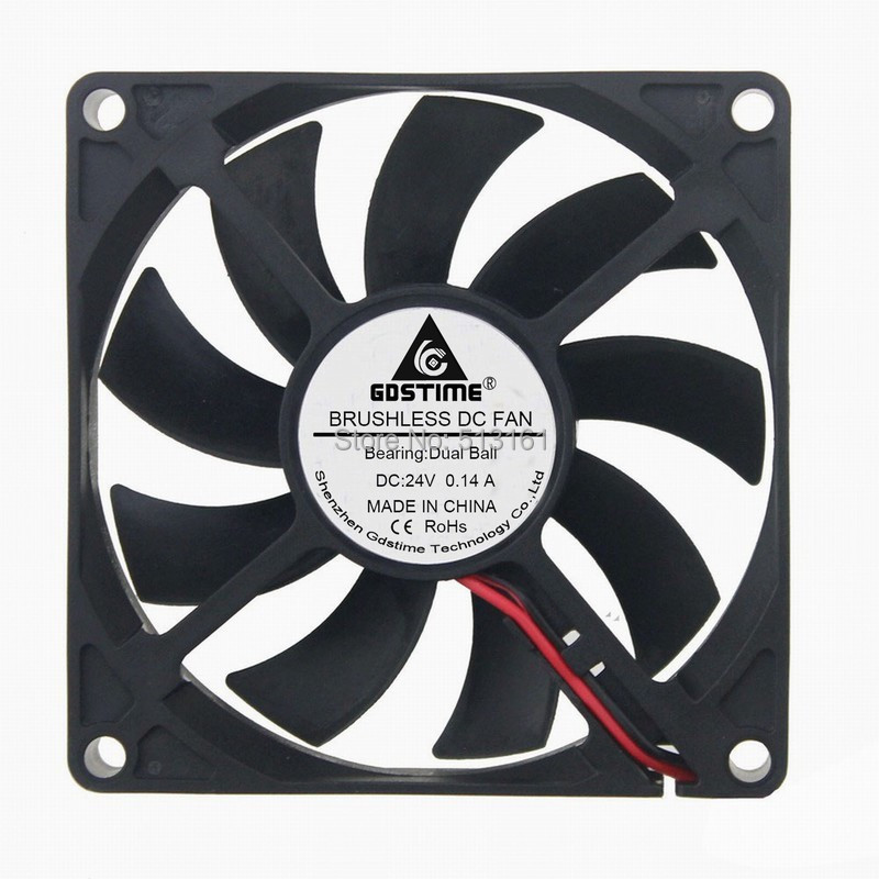 Gdstime 80*80x15mm 80mm Brushless 24 Volt 2Pin 8015B Ball 24V DC Cooling Cooler Fan 120x120x25mm 12025 fans 12 volt 2pin brushless 12cm dc fans chassis fan cooler cooling radiator