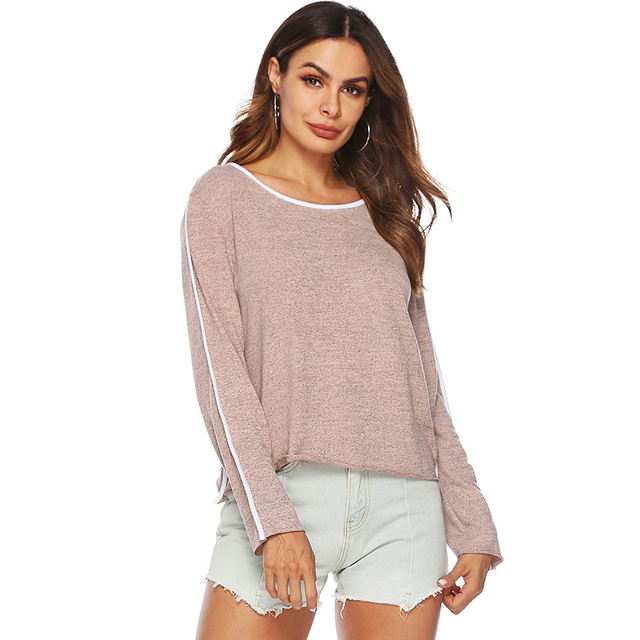 86f338fadeae10 2019 Autumn Spring tunic Knitted Sweater Women Pullovers Faux Cashmere  Constrast Striped Splicing Rolled Hemline Long