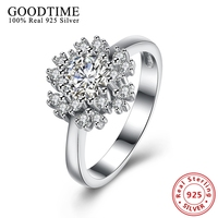 Woman Rings Real Solid 925 Sterling Silver Snowflake Flower Finger Ring With Clear CZ For Women