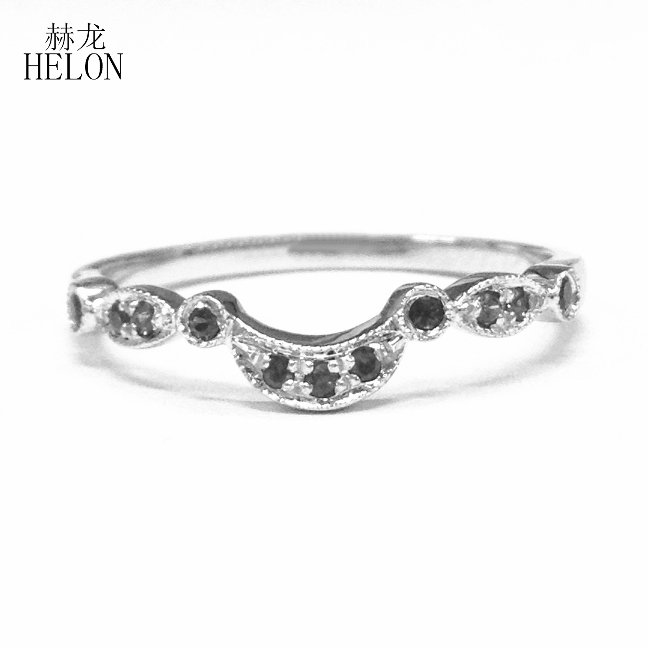 HELON Real 14k White Gold Art Deco Antique 0.15ct Natural black Sapphire Engagement Wedding Anniversary Ring Curved Fine JewelryHELON Real 14k White Gold Art Deco Antique 0.15ct Natural black Sapphire Engagement Wedding Anniversary Ring Curved Fine Jewelry