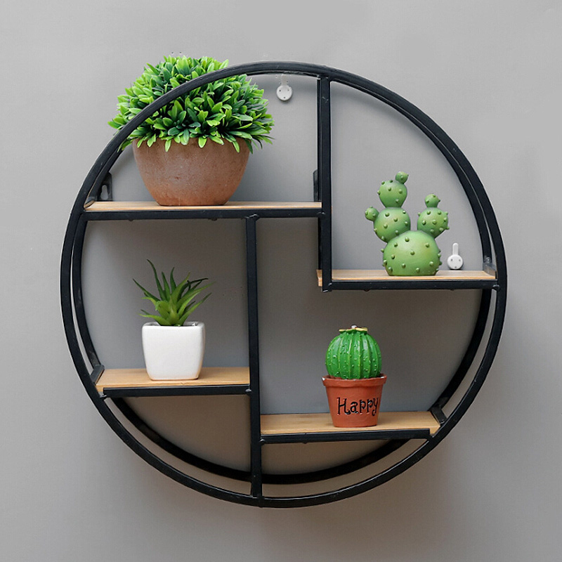 Nordic metal solid wood simple geometric wall hanging home accessories storage rack living room wall decoration display shelf