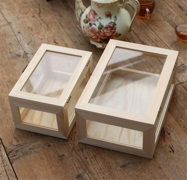 Free Shipping Zakka Wooden Glass Storage Box Gift Boxes Hand Made Phone  Retail Packaging Storage Box