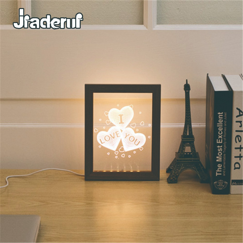 Jiaderui LED Novelty USB 3D Love Wooden Photo Frame Wall Lamp Creative Night Light Baby Sleeping Home Decor Kids Gift Table Lamp