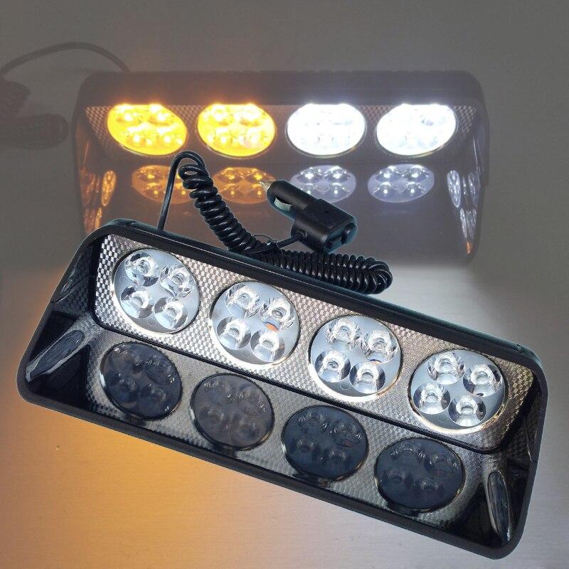 48W Windshield S16 Car Flash Signal Emergency Fireman Police Beacon Warning Light Amber / White Emergency Vehicle Strobe Lights
