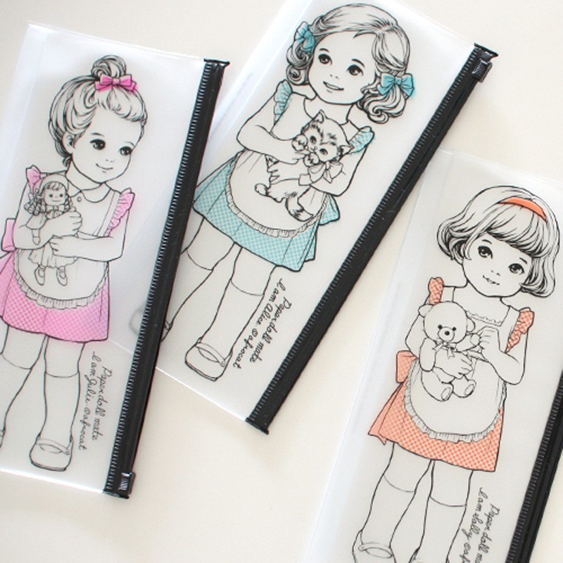 22 pcs/lot Cute transparent doll mate pencil case korean PVC waterproof pencil bag  kawaii stationery