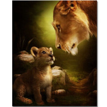 WONZOM Lion Mom Baby-DIY Oil Painting By Numbers kit,Acrylic Paint,Canvas Painting, Paint 40x50cm