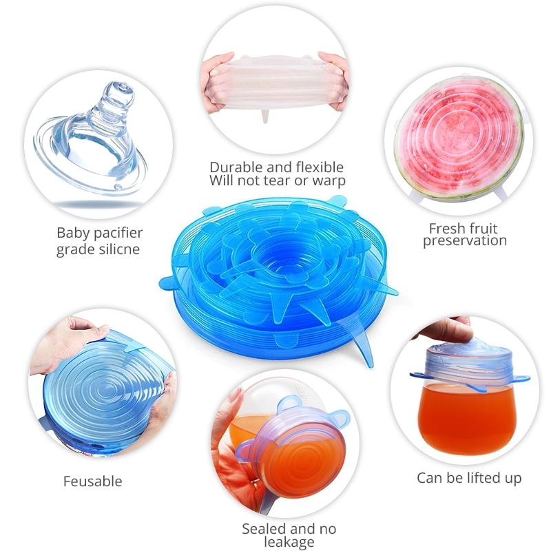 6 Pcs Silikon Stretch Deckel Wiederverwendbare Luftdichte Lebensmittel Wrap Abdeckungen Halten Frische Dichtung Sch ssel Stretchy