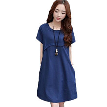 2017New summer maternity nursing dress in the long section of loose solid cotton short sleeved dress pregnant women B0058 цена 2017
