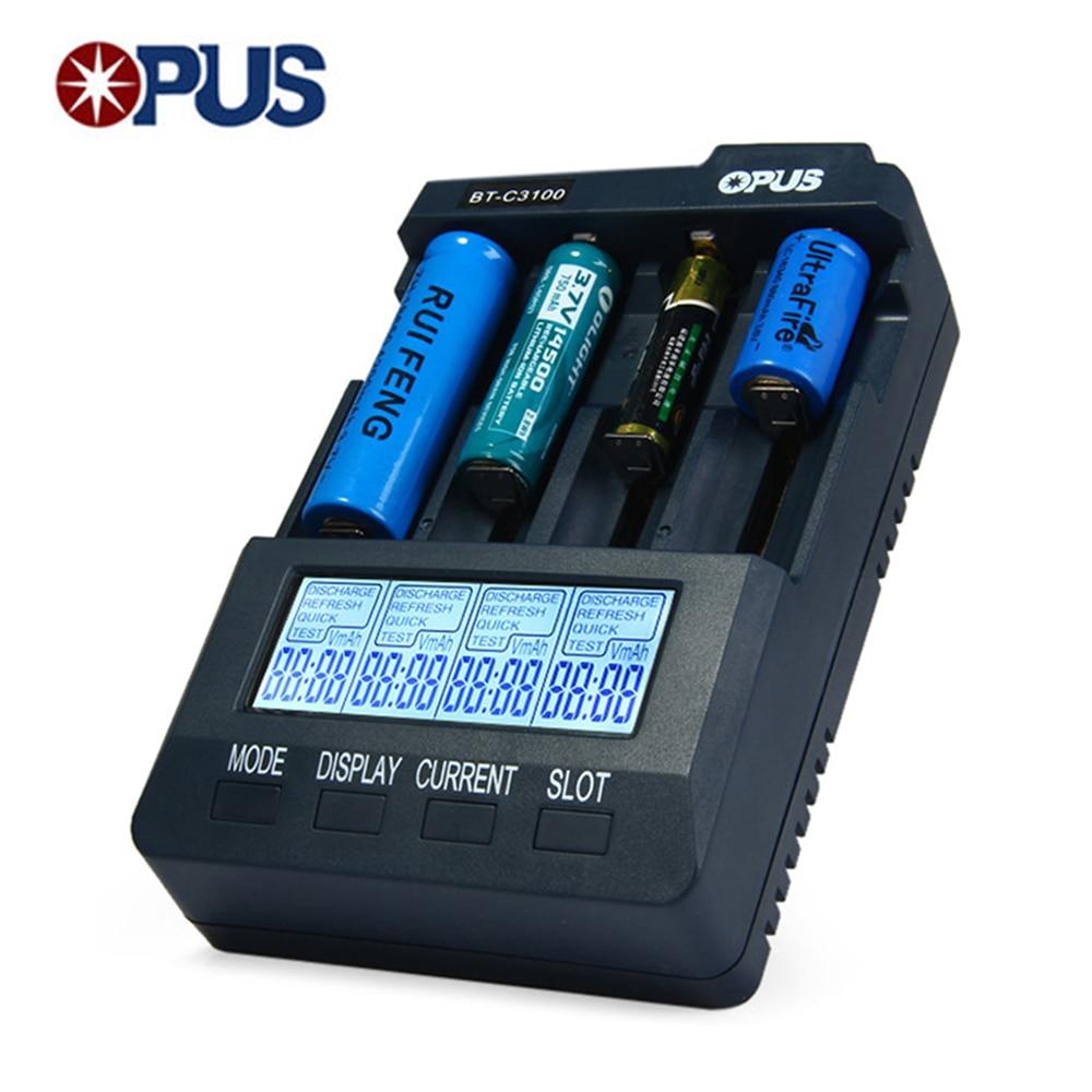 Original Opus BT-C3100 V2.2 Smart Digital Intelligent 4 Slots LCD Universal Battery Charger For Li-ion NiCd NiMh Batteries EU US