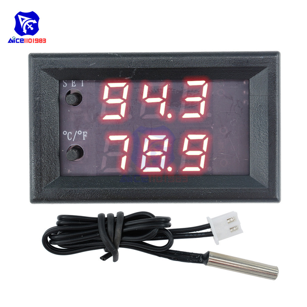 W1209WK 12V 220V LED Digit Thermostat Temperature Controller Thermometer Celsius/Fahrenheit Switch Module with NTC Sensor Probe 6