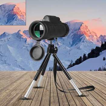 40X60 Monocular Telescope Wide Angle HD Night Vision Prism Scope With Compass Phone Clip Tripod Outdoor Portable Telescope