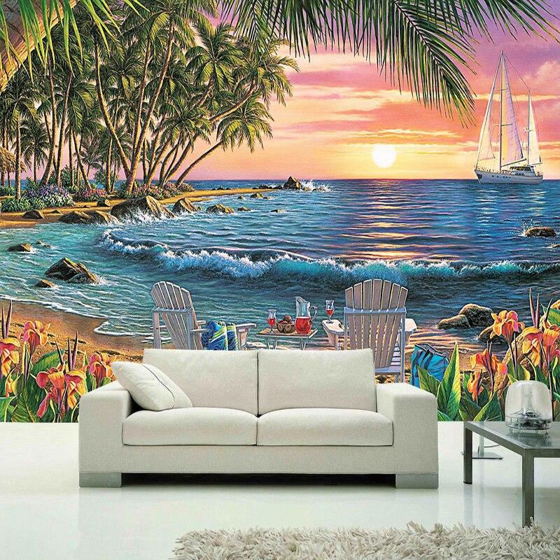 Custom Mural Wallpaper Modern 3D Seaside Landscape Oil ...