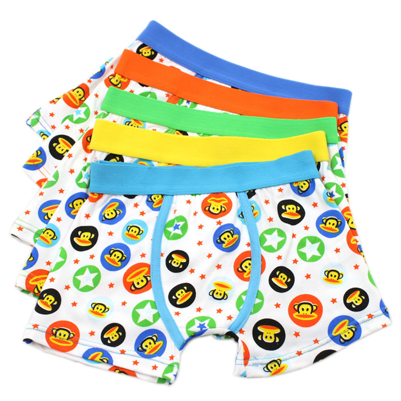 5pcs/set 2-9Years Monkey Boy Boxer Shorts Children Underwear for Boys Cotton Boxer Underwear Kids Print Panties