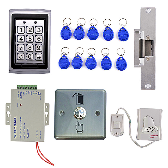 Full Complete Access Control Kit System  Electric Strike Door Lock +110~240V Power Supply + Exit Button+10 RFID Card Tag rfid door access control system kit set with electric lock power supply doorbell door exit button 10 keys id card reader keypad