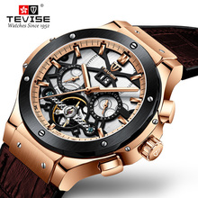 Drop Shipping Tevise Mens Automatic Mechanical Watches Sport Self Winding Tourbillon Gold Men Watch Male Relogio Masculino