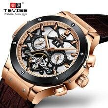 Drop Verzending Tevise mannen Automatische Mechanische Horloges Sport Self Winding Tourbillon Gold Mannen Horloge Mannelijke Relogio Masculino
