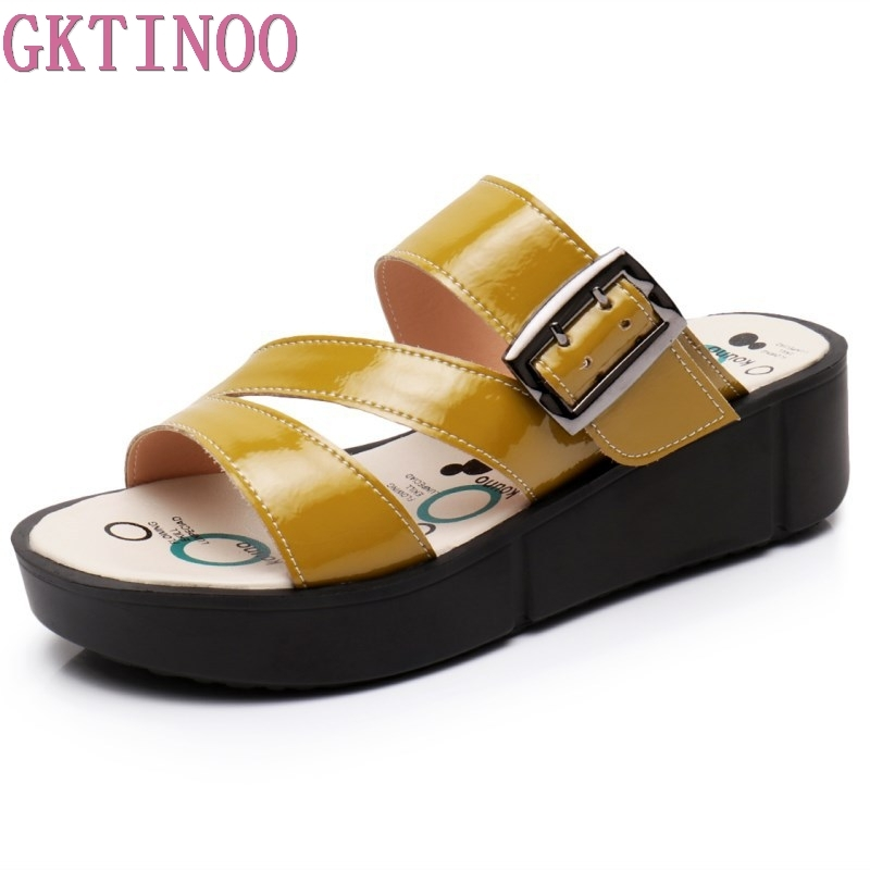 GKTINOO Women Summer Slides Fashion Leisure Shoes Women Platform Wedges Peep Toe Sandals Thick Slippers Leather Casual Slippers