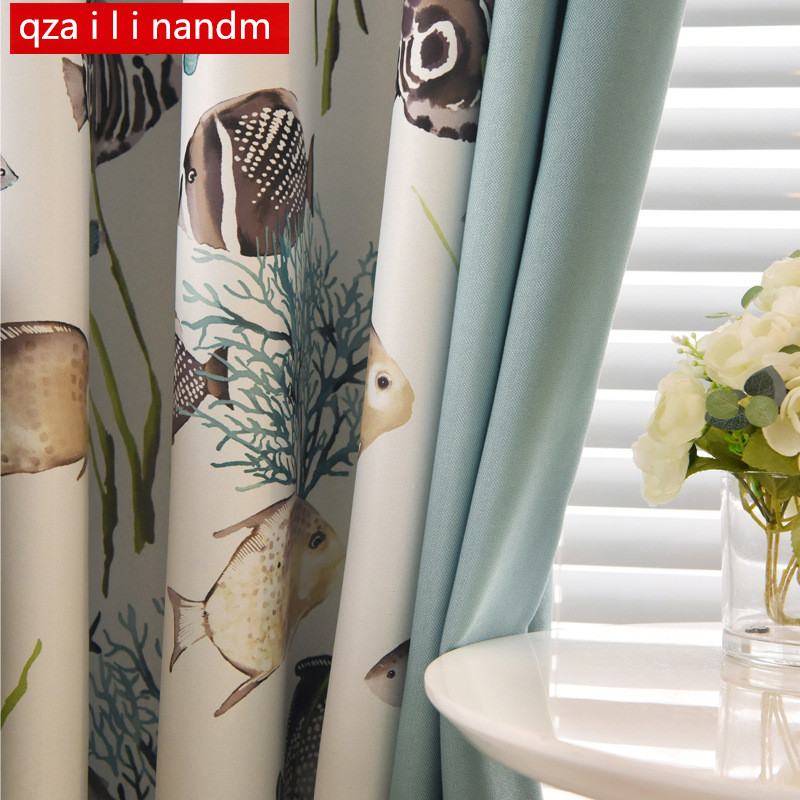 Mediterranean Cute Fish Curtains Modern Luxury Curtains For Living Room Blackout Curtains For Bedroom Window Curtain