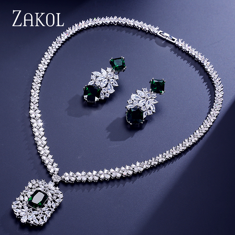 ZAKOL Brand Cluster Cubic Zircon Jewelry Set Luxury Earrings and Tag Necklace Sets For Women Wedding