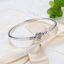 Zircon heart charm bracelets & bangles for women girls 925 sterling silver female bangle bracelet fashion jewelry bijoux femme