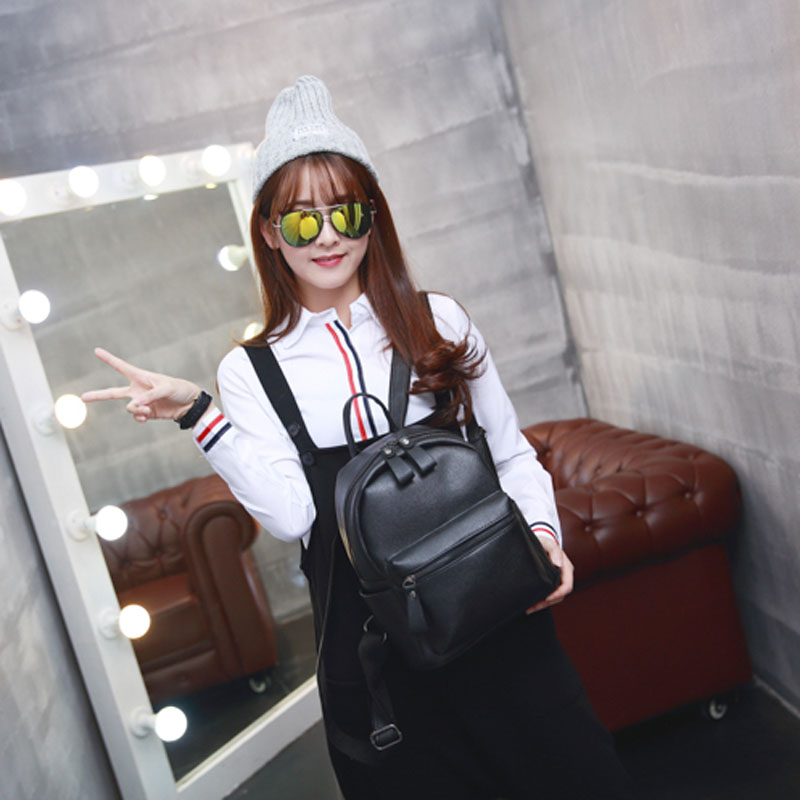 Korean Style New Arrival Hot Selling School Bags For Teenagers Casual Brief Travelling Women's Leather Backpack Gq1173 #3