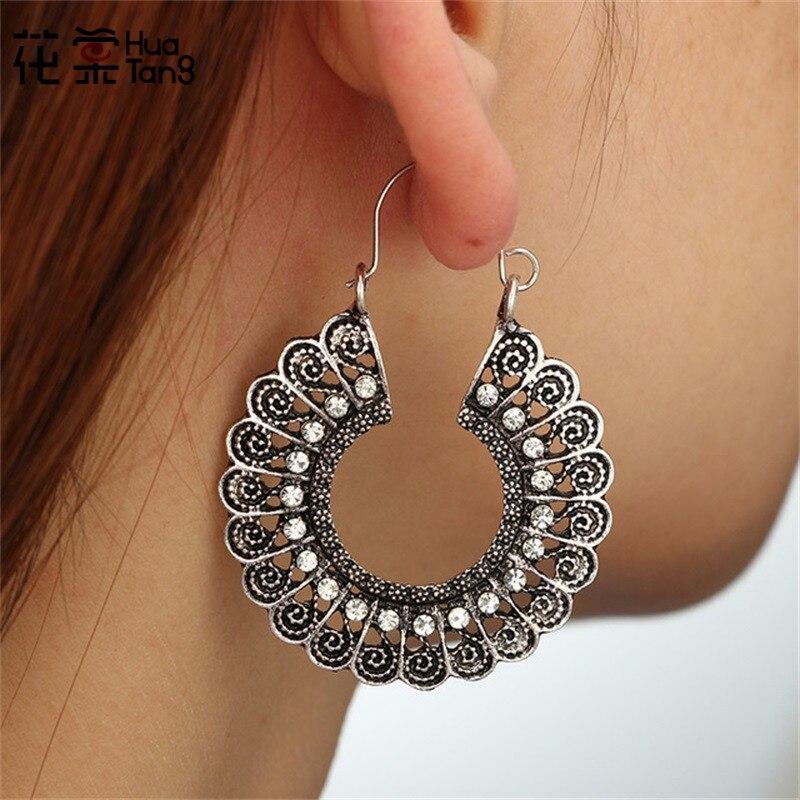 HuaTang Vintage Silver Crystal Reliefs Earrings For Women Brincos Earings Alloy Oorbellen Hoop Earrings Pendientes Bohemia 4462