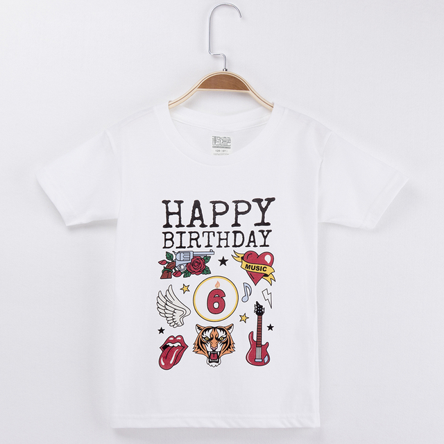 2018 Birthday Kids Clothes Rock And Roll T Shirt 100 Cotton White Children Clothing