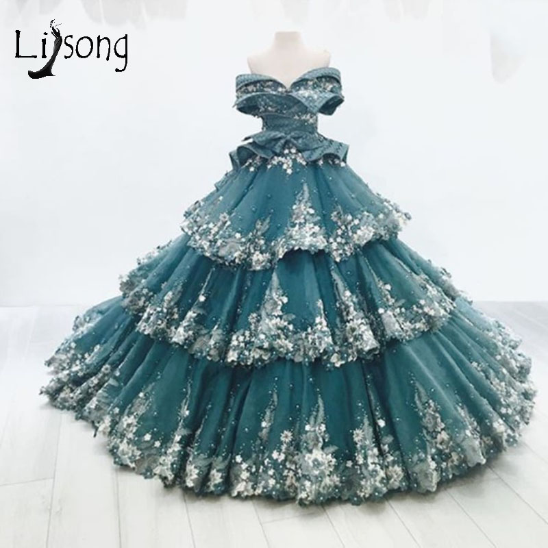Vintage Dubai Teal Floral Ball Gowns Saudi Arabic Pearls Ruffles Tiered   Prom     Dresses   Gorgeous Party   Dresses   2018 Robe De Soiree
