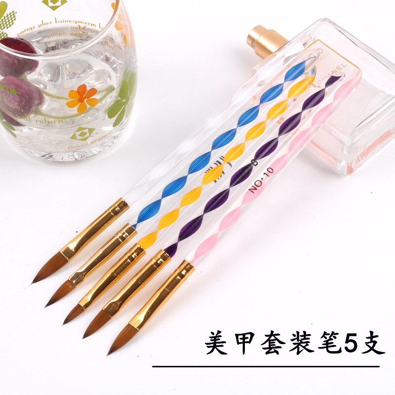 JK(KL-5) ACRYLIC BRUSH Manicure Tool Carved Painted Pen 5 Sets Of Light Therapy Pen Acrylic Spiral Pen Crystal Pen Nail Pen