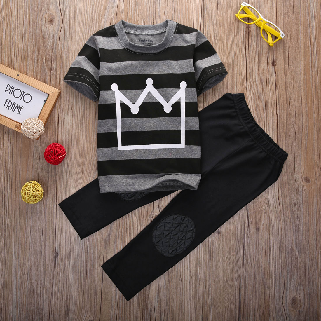 Summer Baby Toddler Kids Boys Clothes Striped Crown Printed Tops T shirt Pants 2PCS Outfits Tracksuit set 2 8T 2019 in Clothing Sets from Mother Kids