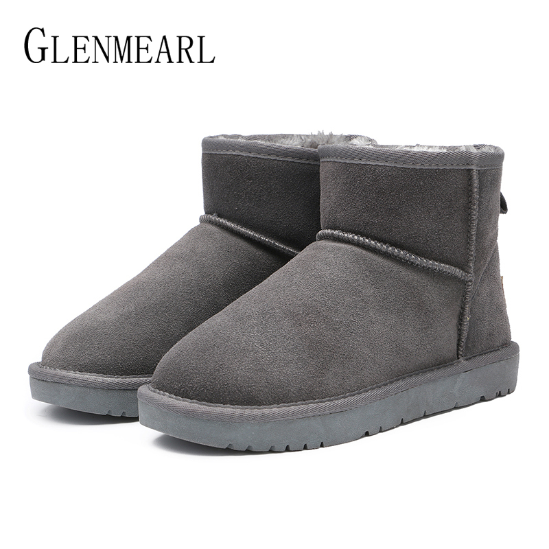Brand Women's Ankle Boots Suede Winter Shoes Warm Genuine Leather Snow Boots Female Platform Slip On Fur Ladies Shoe Plue Size цены онлайн