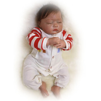 Wholesale 20 Inch 50 cm Reborn Baby Dolls Soft Silicone Rooted Mohair Sleeping Dolls For Children's Christmas Xmas Gift