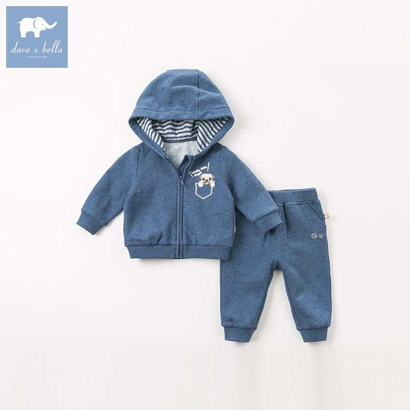 DBM8938 dave bella automne bébé garçons manches longues ensembles de vêtements pour bébé à capuchon manteau + pantalon 2 pièces tenues enfants boutique costumes